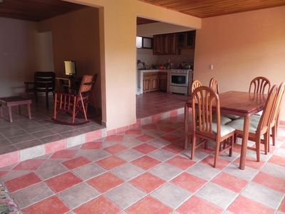 Open living space and Spanish ceramic tile