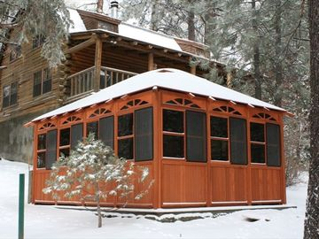 Green Valley Lake cabin rental - Large gazebo (privacy) and 8 person jacuzzi to start or finish the day