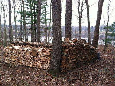 Plenty of firewood to use for the indoor fireplace and outdoor fire pit.