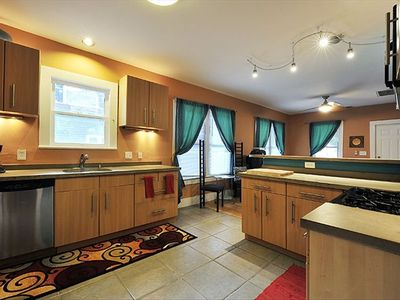 Concrete Counter Tops and nice Cabinetry, Fully Furnished Kitchen