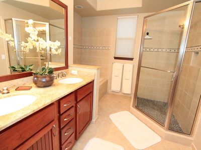 Master Bathroom with Soaking Tub and Walk-In Shower