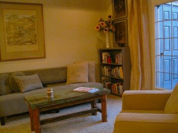 Las Cruces condo rental - Chic cozy couch, local art and a fine view