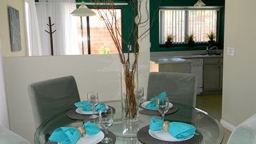 Table linens, napkin holders, wineglasses for special dinners...