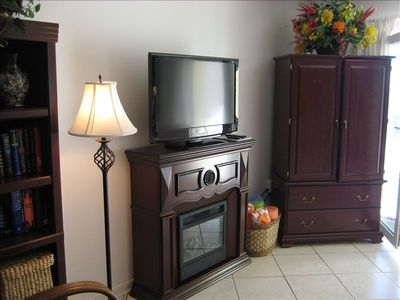 Fireplace and 37' TV/DVD
