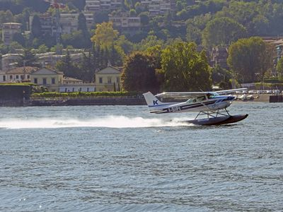 Watch the seaplanes land on the lake- amazing !