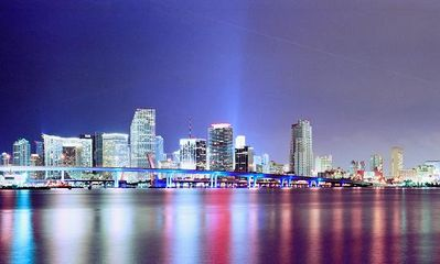 Miami skyline from the water.