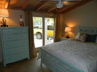 Key Colony Beach house photo - Bedroom with queen bed and patio access