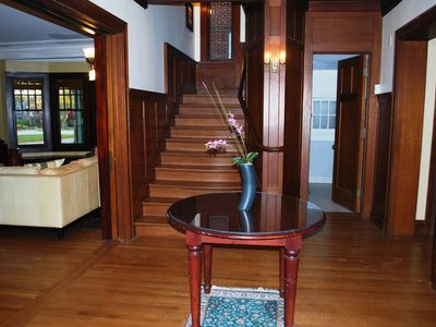 the woodwork, including the oak paneled stairs, hardwood floors will amaze you