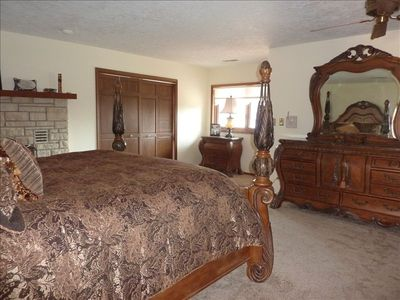 Master Bedroom takes up the entire upper level, Fireplace, Whirlpool, King Bed