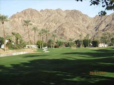 La Quinta house rental - Incredible View of The 11th Fairway On The Mountain Course From Back Patio...