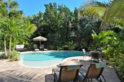 The tropical pool area at Beachy Keen is totally beachy-keen!