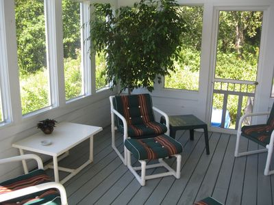 Screened in porch with comfortable outdoor furniture