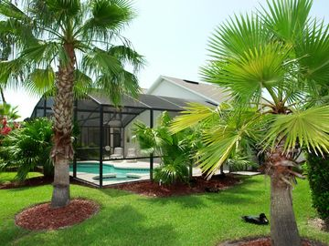 Rear view of pool with tropical planting