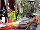 The table on the deck with the Adirondack chairs, outdoor heater and BBQ - Poconos Pines / Lake Naomi house vacation rental photo