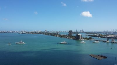 Miami yacht show can be seen from the deck
