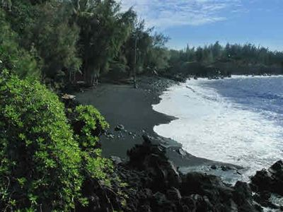 Beautiful black sand beach just a few minutes walk