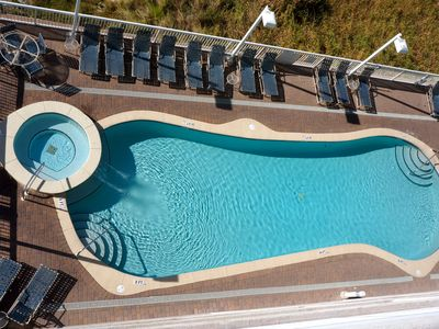 View of the pool and hottub from your balcony