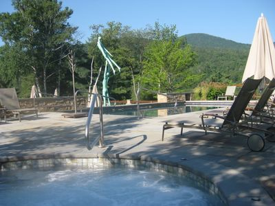 Outdoor hot tub and heated pool open year round.