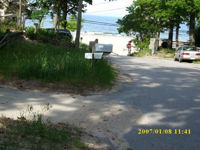 Muskegon cottage rental - Cottage view-Lake Michigan's Pere Marquette beach