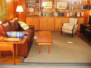 Chilmark house photo - Settle in: ample sofa, books, music, cable TV in the open plan livingroom