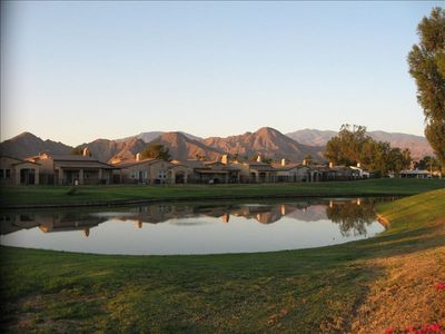 View over lake, Golf course and Mountains