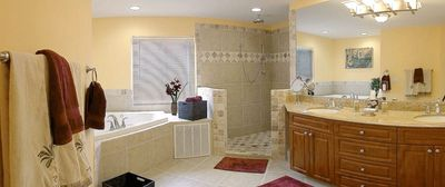 Master bath with Jacuzzi and double shower