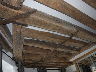 Old wood ceiling beams