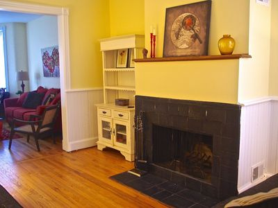 Second Living Room with wood-burning fireplace