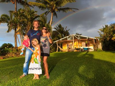 Carine, Manu & daughters Lou & Shadé at home in Hawaii
