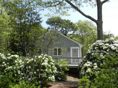 The guest cottage on a beautiful Spring day. The deck overlooks the water.
