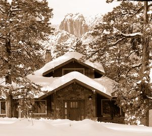 Estes Park house rental - Rockhedge in Winter. Come inside and sit by the fire.