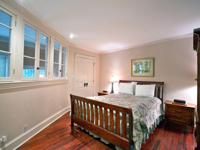 Savannah townhome rental - Master bedroom with king bed in 2BD/2BA