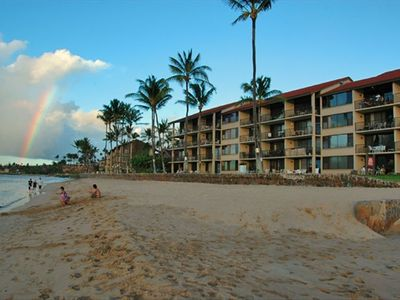 View of L building from the beach and one of the many Maui rainbows