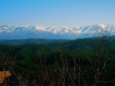 WINTER VIEW OF MT LE CONTE FROM LOWER DECK