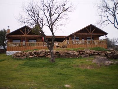 Covered porch area overlooking Llano River