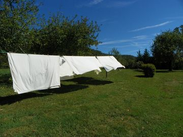 Linens aired in the Hot Springs solar clothes dryer. Sweet dreams!