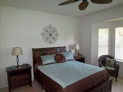 South Venice villa rental - Tommy Bahama style Queen Bed in spacious, private Master Suite with Bay Window.