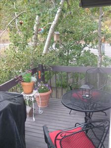 Old Town condo rental - Outside Deck, with Grill, and view of Park City Mountain Resort behind us.