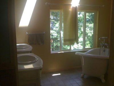 Downstairs bathroom with view of lake and skylights