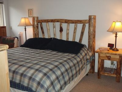 Master Bedroom Suite with Custom Log Furniture & private bath