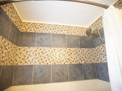 Large shower head for an all over wash.