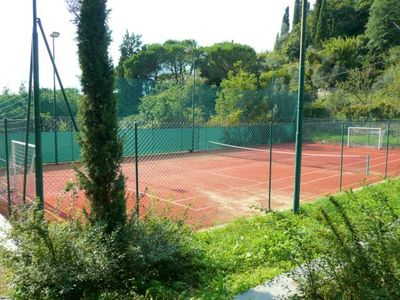 Tennis court of the property