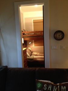 View of the bunk room from the upstairs den