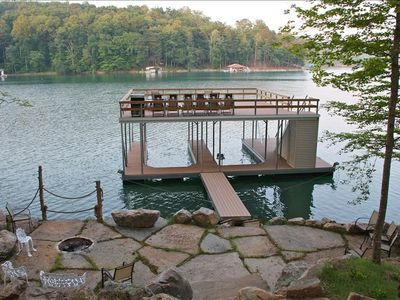 Fire Pit/Patio, dock with 2 picnic tables, grill, 7 loungers
