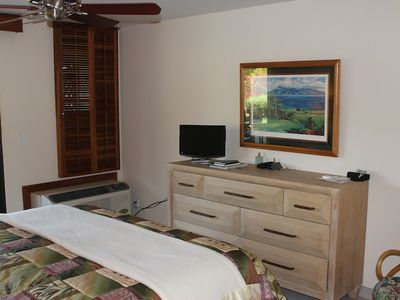 Our master is complete with TV, A/C, ceiling fan, full bath and lanai access