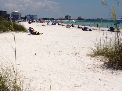 The white sand of St. Pete Beach on the Gulf of Mexico; just over a block away!