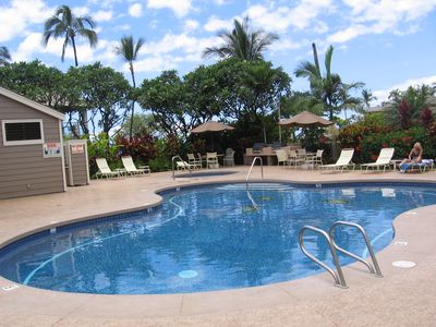 Quiet Adult pool that boarders Wailea's Old Blue Golf Course