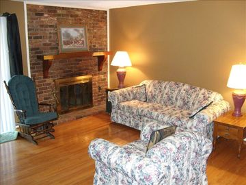 Brevard condo rental - Comfortable Living area with fireplace.