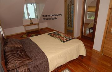 Mstr has 2 queen size beds,a/c,private bthrm private deck and a view of thebite