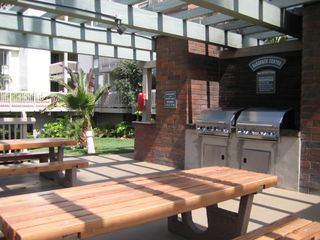 Oceanside condo photo - Stainless BBQ grills, Picnic Tables overlook ocean and pool